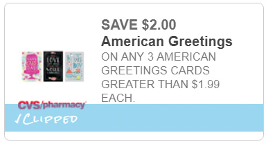 I heart cvs american greetings coupon 2 off 3 american greetings cards 199 cvs coupon m4hsunfo