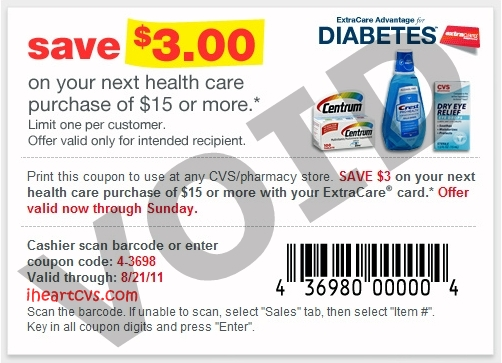 i heart cvs  coupons emailed to some extracare advantage