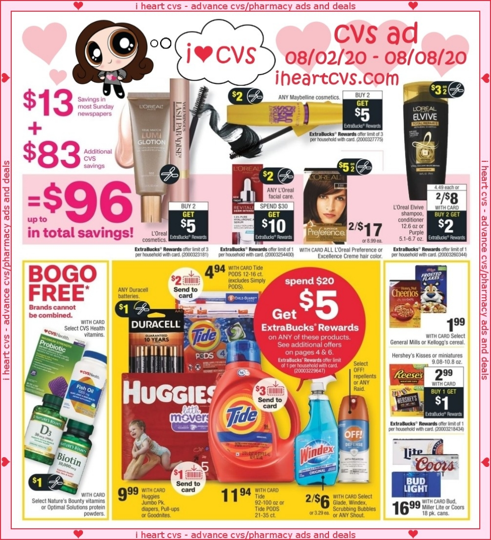 I Heart Cvs Ads 08 02 08 08 Cvs Ad Flyer Minimum $65 total required after all coupons are deducted, before extrabucks are applied to order. i heart cvs ads